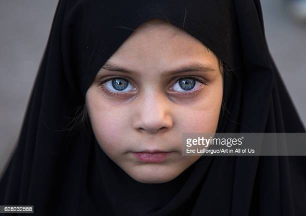 Portrait of an Iranian girl during Ashura to commemorate the martyrdom anniversary of Hussein Lorestan Province Khorramabad Iran on October 11 2016...
