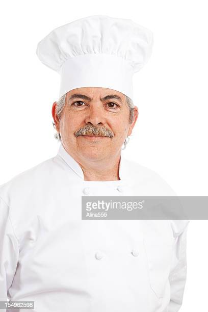 Portrait of  an italian cook in  chefs hat and uniform