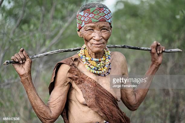 Portrait of an old bushmen woman from the Kalahari desert Namibia