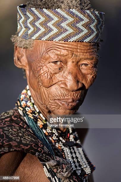 Portrait of an old bushmen woman from the Kalahari desert
