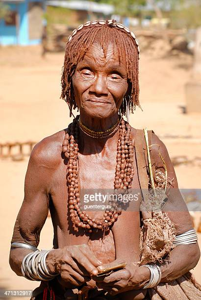 Portrait of an old Hamar woman, Lower Omo Valley, Ethiopia