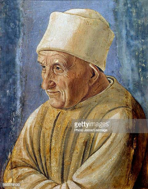 Portrait of an old man Painting by Filippino Lippi 1485 047 x 038 m Galleria degli Uffizi Florence Italy
