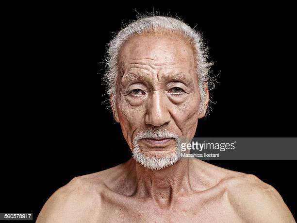 portrait of an old man - japanese old man stock pictures, royalty-free photos & images