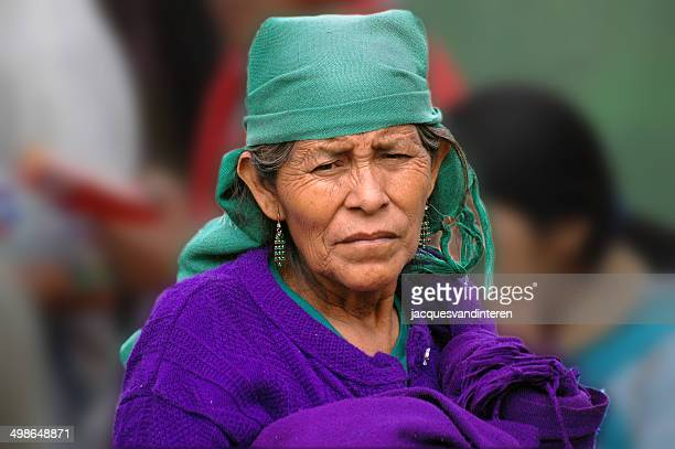 portrait of an old mayan woman, mexico. - chiapas stock pictures, royalty-free photos & images