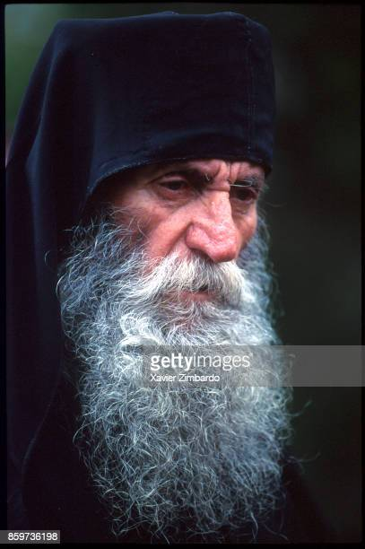 Portrait of an old Orthodox monk practising Hesychasm which is a mystical tradition of contemplative and silent prayer at Easter on April 27 1997 in...