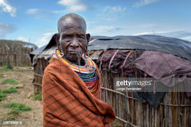 Portrait of an old Samburu woman decorated with traditional collar beads
