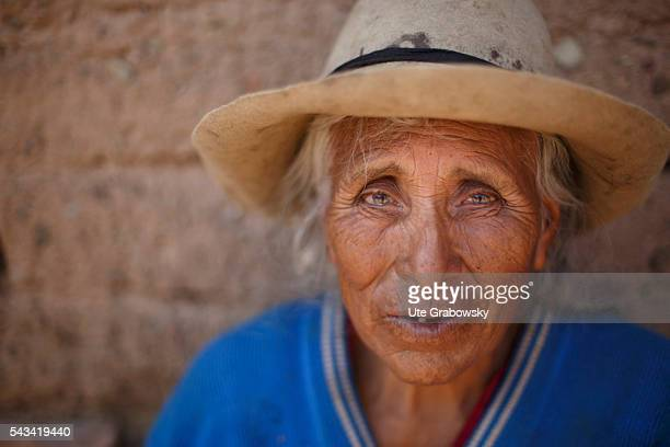 Portrait of an old woman in the Andes of Bolivia on April 16 2016 in Tarwachapi Bolivia