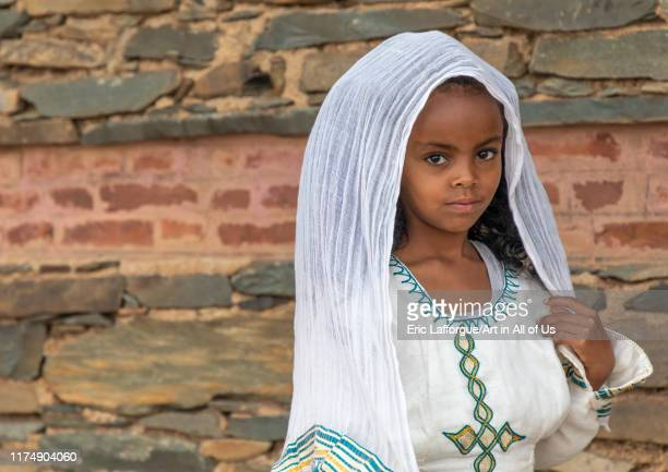 Portrait of an orthodox girl, Central region, Asmara, Eritrea on August 18, 2019 in Asmara, Eritrea.