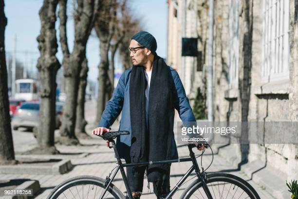 portrait of an trendy asian commuter with bike - only japanese stock pictures, royalty-free photos & images