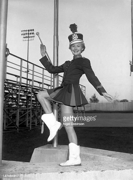 Portrait of an unidenfied Hanover High School majorette in uniform Hanover Pennsylvania 1950s