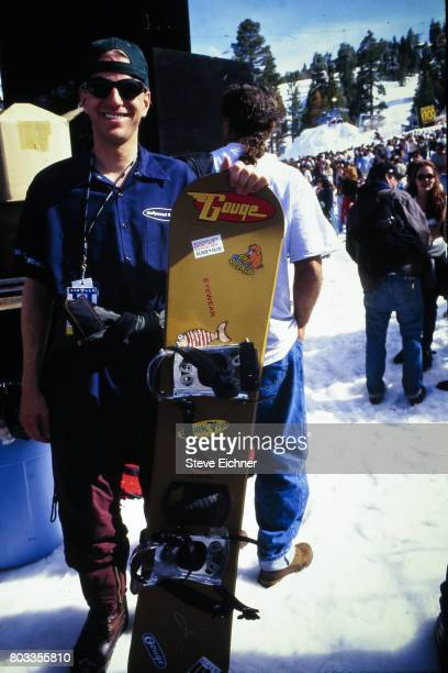 Portrait of an unidentified snowboarder at the LifeBeat Board Aid 2 benefit at Big Bear Lake California March 15 1995
