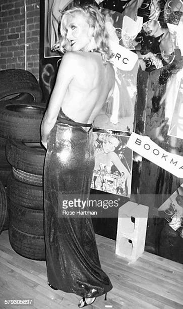 Portrait of an unidentified woman as she poses at the launch party for the book 'Gloss The Work of Chris von Wangenheim' at the Tunnel New York New...