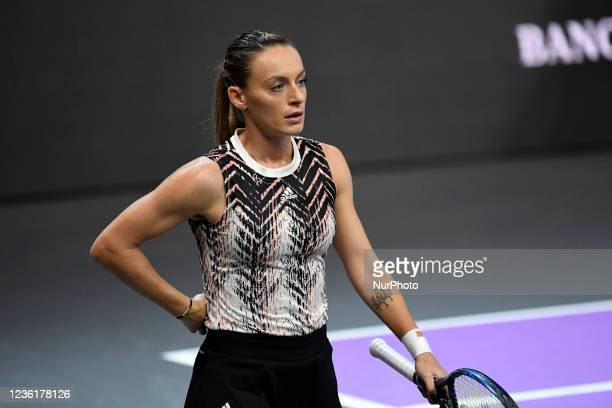 Portrait of Ana Bogdan- in action - preparing for receiving the ball during her match against Ivana Jorovic during the third day of WTA 250...