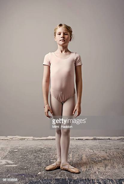portrait of and eight year old ballerin - leotard stock photos and pictures