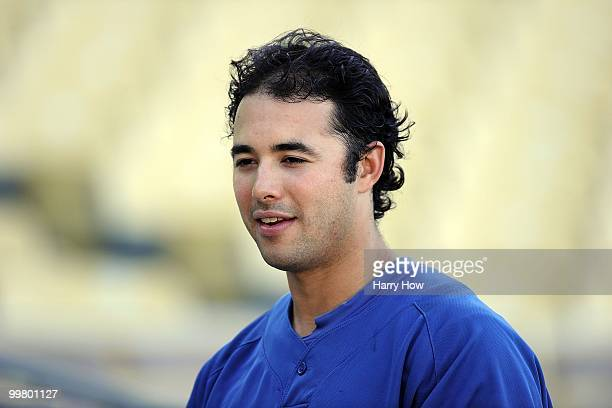 Portrait of Andre Ethier of the Los Angeles Dodgers at batting pactice before the game against the Colorado Rockies at Dodger Stadium on May 7 2010...