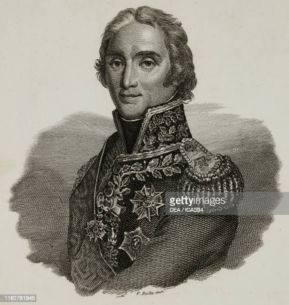 Portrait of Andre Massena French general of Italian origin engraving by V Rolla from Vite dei primarj marescialli e generali che ebbero parte nelle...