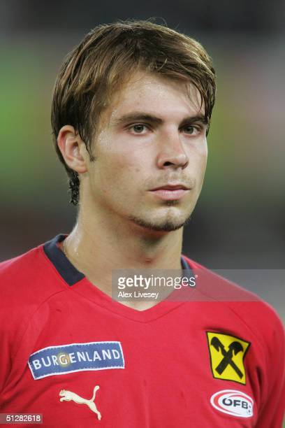 A portrait of Andreas Ivanschitz of Austria prior to the 2006 FIFA World Cup Qualifying game between Austria and England at the Ernst HappelStadium...