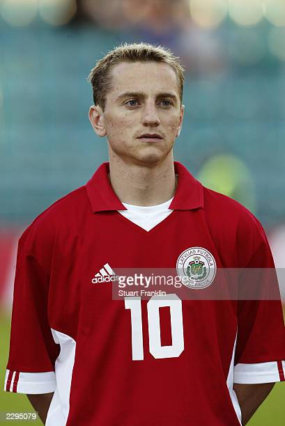 Portrait of Andrejs Rubins of Latvia taken during the Baltic Cup match between Latvia and Estonia held on July 5 2003 at the ALe Coq Arena in Tallinn...