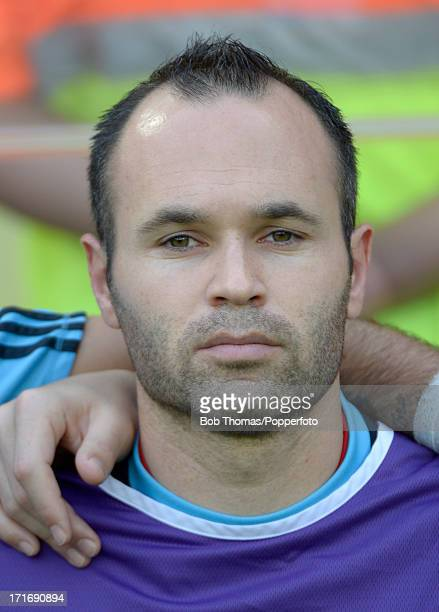 Portrait of Andres Iniesta of Spain before the start of the FIFA Confederations Cup Brazil 2013 Group B match between Spain and Tahiti at the...