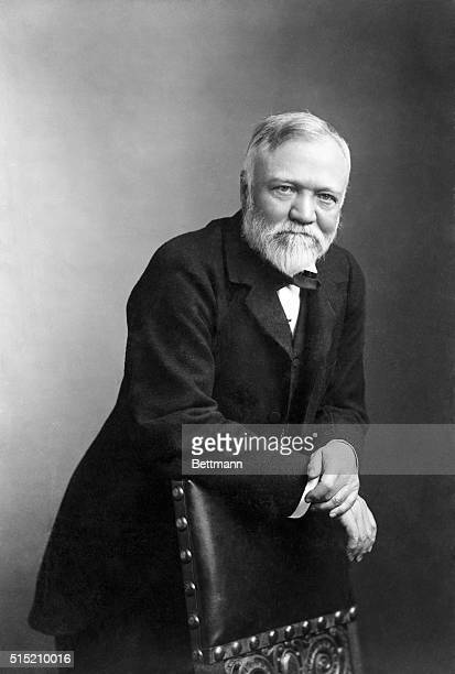 1896 Portrait of Andrew Carnegie 3/4 length leaning on the back of a chair BPA2# 5152