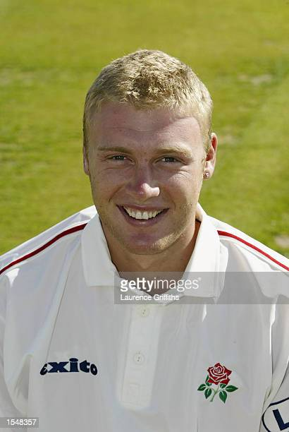 Portrait of Andrew Flintoff of Lancashire CCC during the Lancashire County Cricket Club photocall held on April 15 2002 at Old Trafford in Manchester...