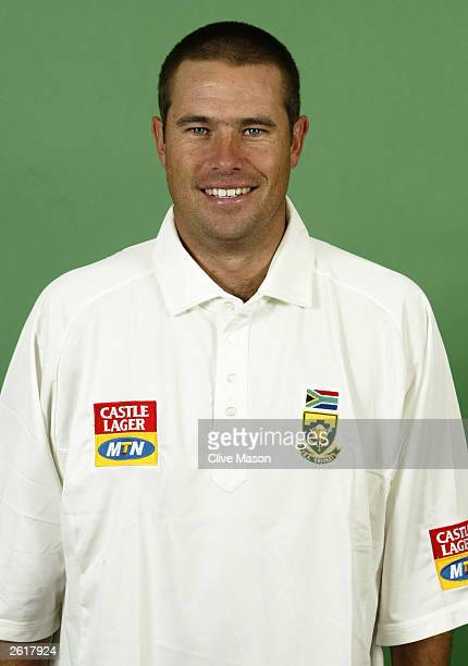 Portrait of Andrew Hall of South Africa taken during the South Africa Cricket Team photoshoot held on June 23 2003 at Sir Paul Getty's Ground in...