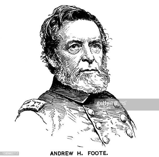 portrait of andrew hull foote, american naval officer - governor stock pictures, royalty-free photos & images