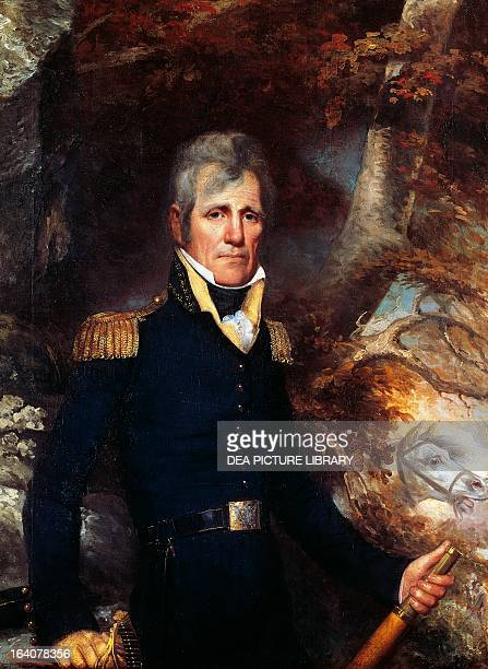 Portrait of Andrew Jackson in general's uniform American politician seventh President of the United States of America Painting by Wesley New York The...