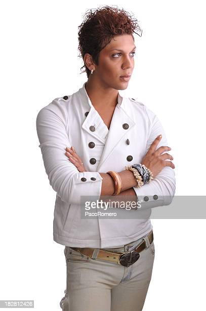 portrait of androgynous man - transgender man stock photos and pictures