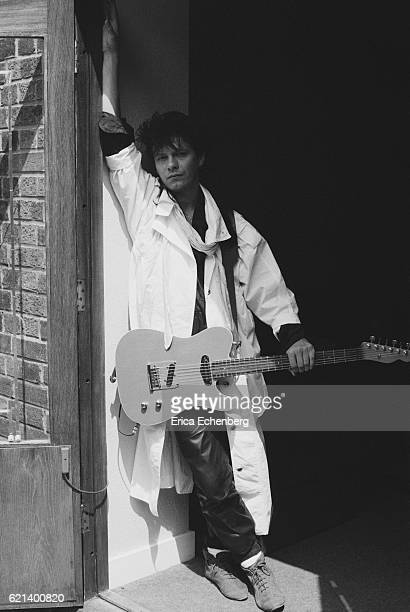 Portrait of Andy Taylor from Duran Duran in a studio in Fulham London 1984