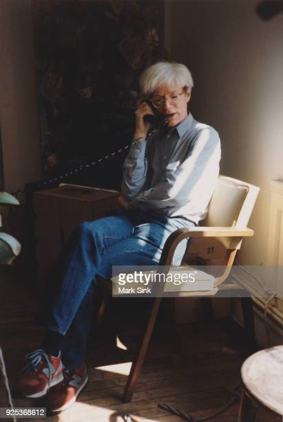 Portrait of Andy Warhol talking on the phone at The Factory September 13 1981 at 860 Broadway New York City New York