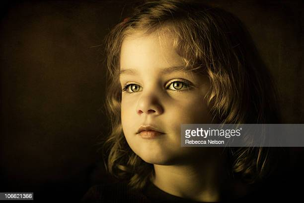 portrait of angelic looking 3 year old girl - hazel eyes stock pictures, royalty-free photos & images