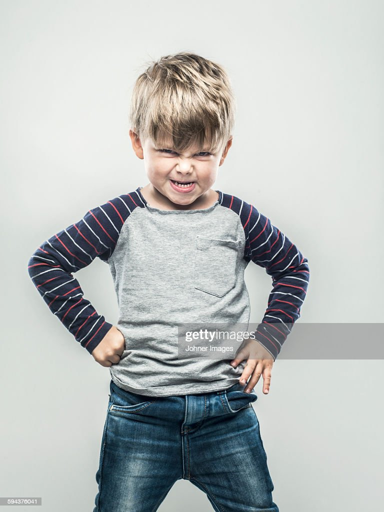 Portrait of angry boy : Stock Photo