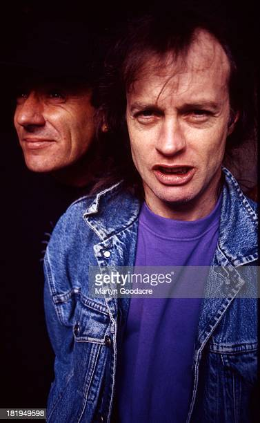 Portrait of Angus Young and Brian Johnson of Australian rock band AC/DC London 1995