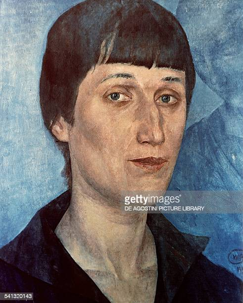 Portrait of Anna Akhmatova Russian poet by Kuzma PetrovVodkin oil on canvas 54x43 cm Russia 20th century San Pietroburgo Gosudarstvennyj Russkij Muzej