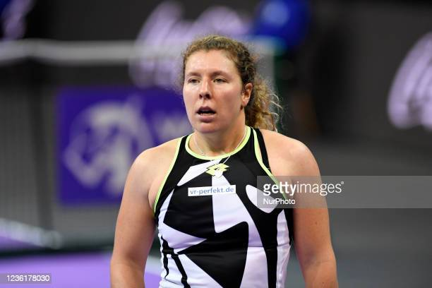 Portrait of Anna-Lena Friedsam - celebrating after scoring during her match against Alexandra Ignatik on the third day of WTA 250 Transylvania Open...