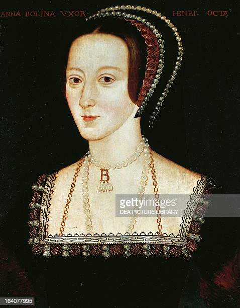 Portrait of Anne Boleyn Queen of England Painting by unknown artist oil on panel ca 15331536 543x416 cm London National Portrait Gallery