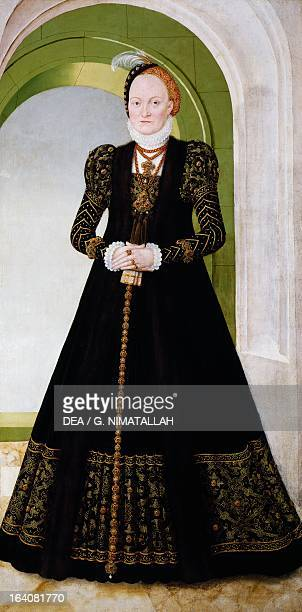 Portrait of Anne of Denmark wife of Augustus I of Saxony, Electress of Saxony. Painting by Lucas Cranach the Younger . Vienna, Kunsthistorisches...
