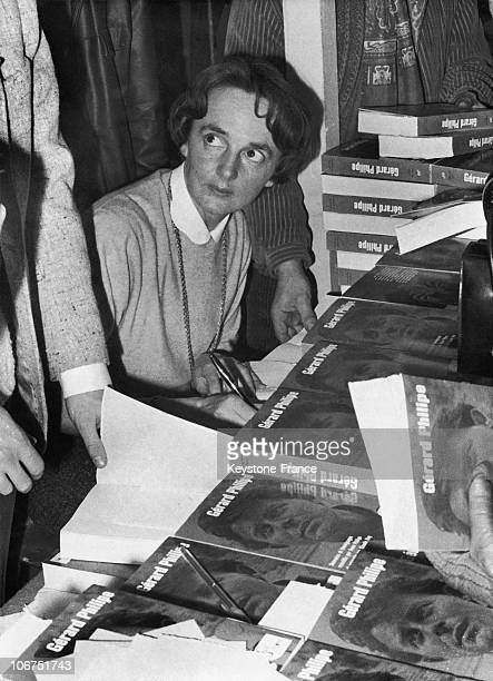 Portrait Of Anne Philipe During A Book Signing Session For The Book She Wrote On Her Husband The French Actor Gerard Philipe In 1960 The Book Written...