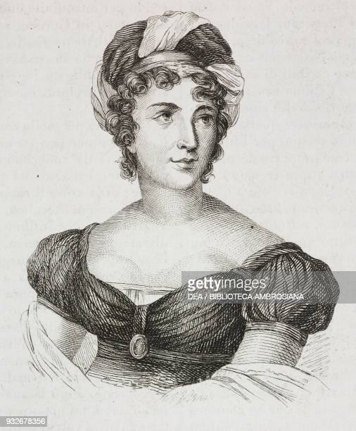 Portrait of AnneLouise Germaine Necker known as Madame de Stael French writer engraving from L'album giornale letterario e di belle arti November 30...