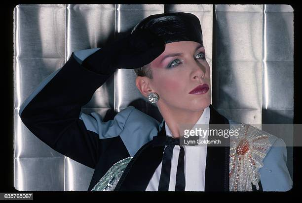 Portrait of Annie Lennox of The Eurythmics She is shown in a headandshoulders view saluting Undated photograph