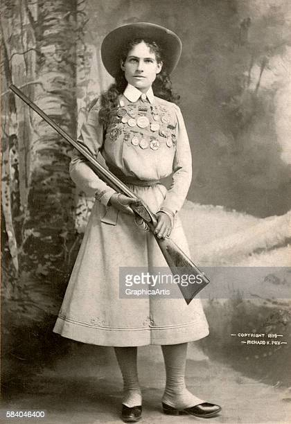 Portrait of Annie Oakley with a Rifle 1899 Screen print from a photograph
