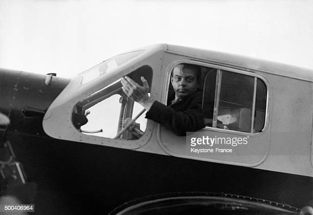 Portrait of Antoine de SaintExupery aviator and writer in the cockpit of his airplane the Caudron Simoun 1936 in France