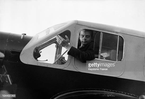 Portrait of Antoine DE SAINTEXUPERY aviator and writer in the pilot's cabin of his airplane the CAUDRON SIMOUN