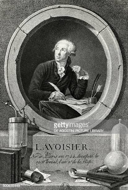 Portrait of AntoineLaurent Lavoisier French chemist biologist and economist engraving from the Portrait of AntoineLaurent Lavoisier and his wife...
