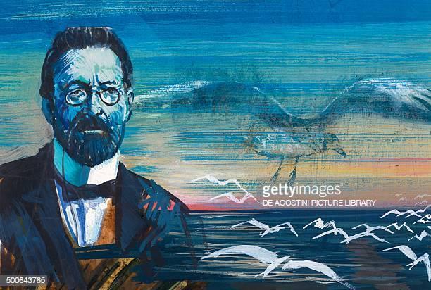 Portrait of Anton Pavlovich Chekhov Russian writer and playwright illustration