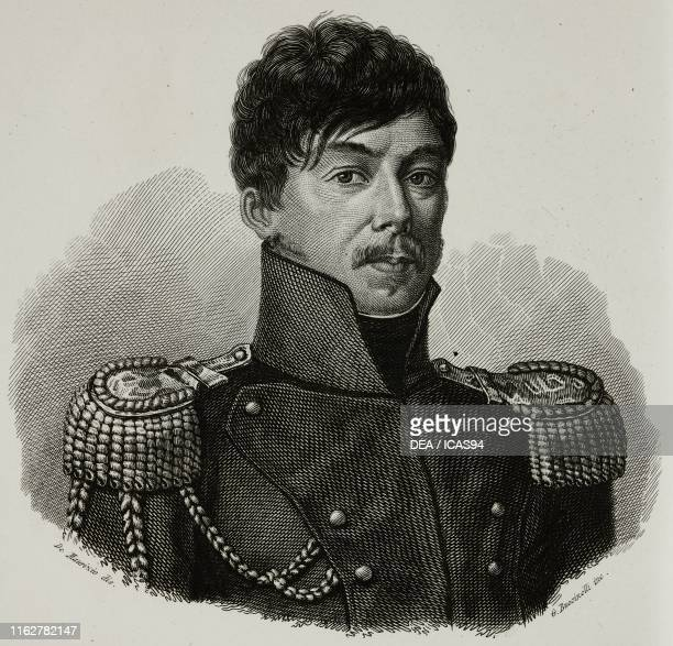Portrait of Antonio Banco Italian soldier of Polish origins engraving by Bucinelli after a drawing by De Maurizio from Vite dei primarj marescialli e...