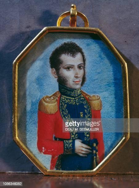 Portrait of Antonio Jose de Sucre Venezuelan general and politician miniature inserted in a medallion