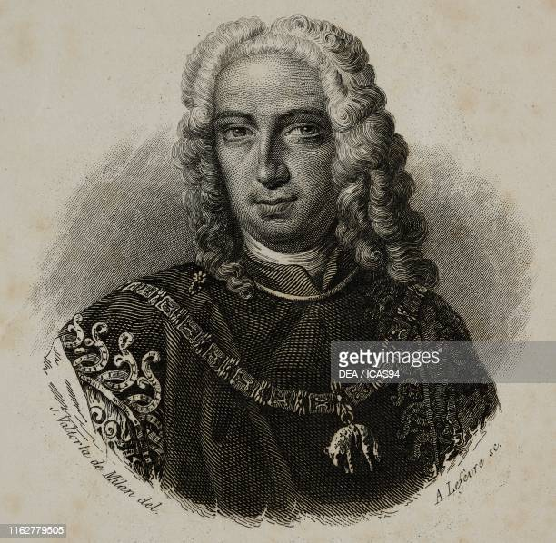 Portrait of Antonio Tolomeo Gallio Trivulzio Italian philanthropist engraving by Lefevre after a drawing by Valtorta
