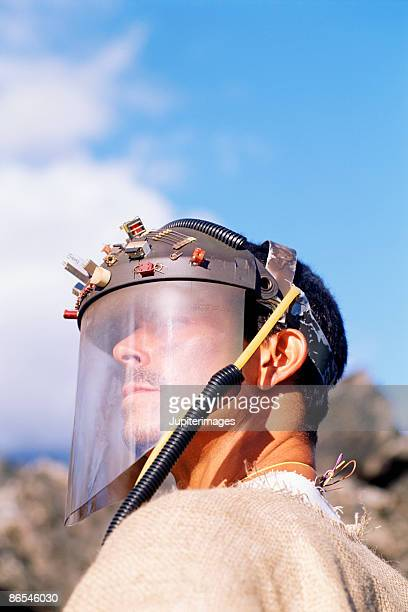 Portrait of apocalyptic man with visor